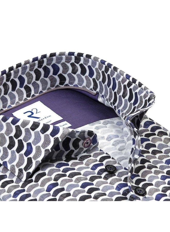 Print Golf Grijs / Paars / Zwart - Modern Fit