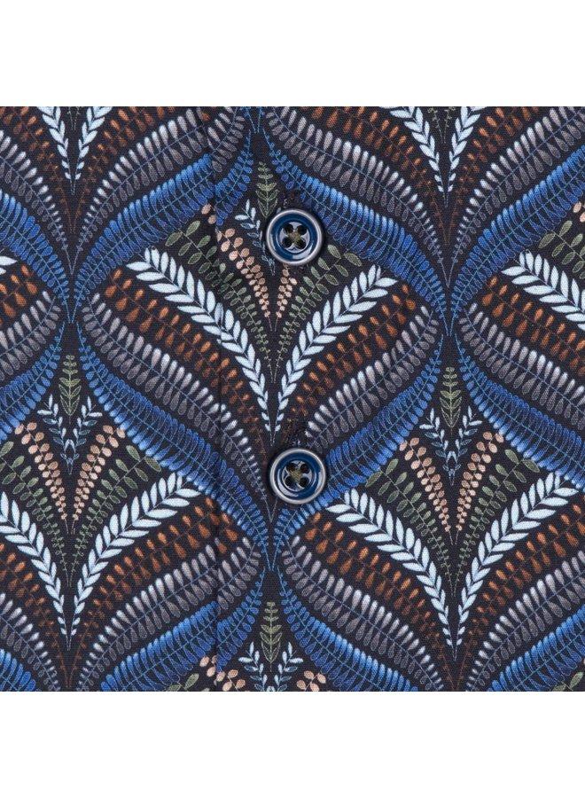 Print Golvend Groen / Blauw / Brique - Modern Fit