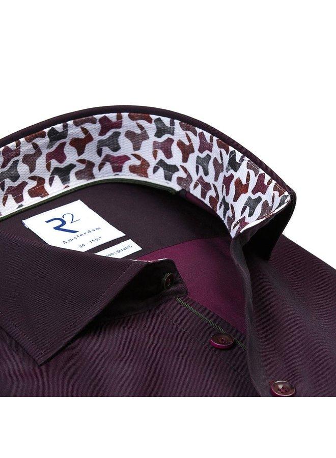 Uni Bordeaux Rood Kraag Print - Modern Fit