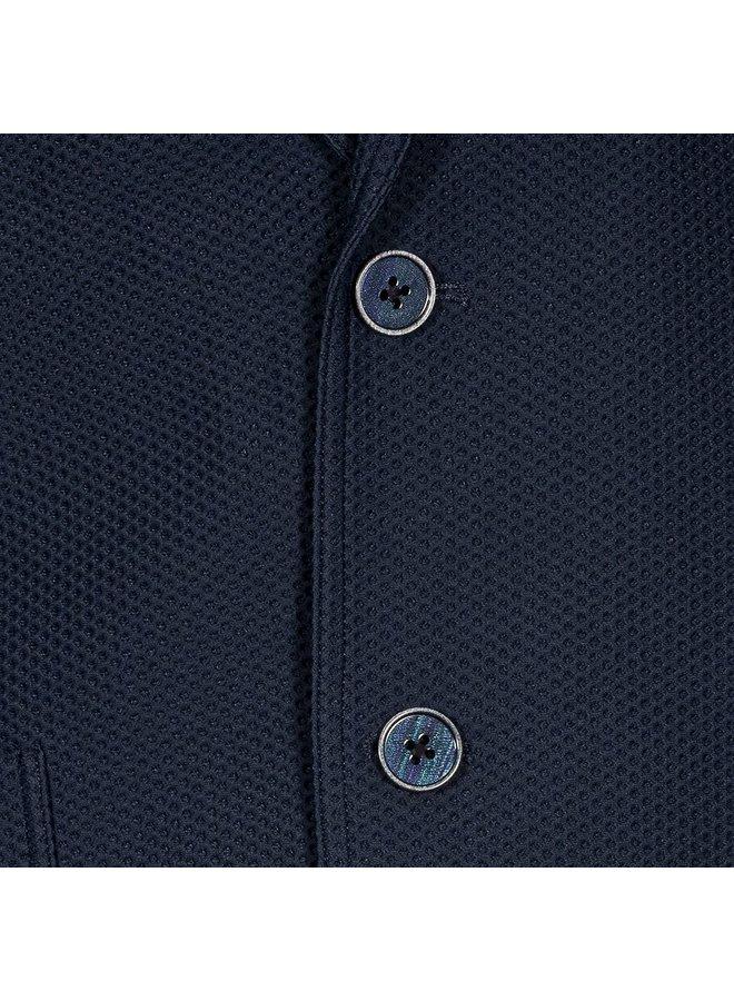 Uni Donker - Blauw Structuur Travel Jacket Knitted