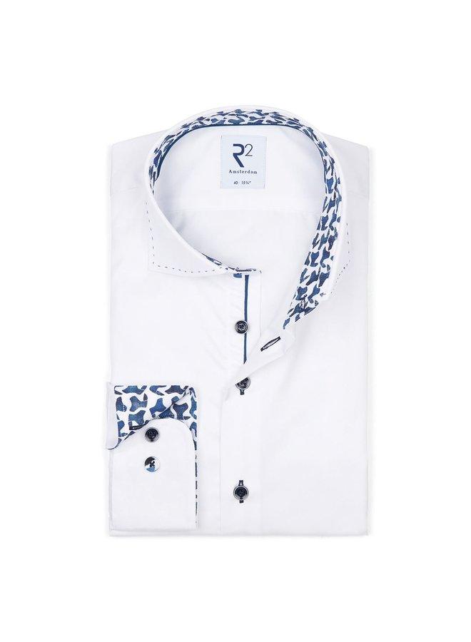 Uni Wit Kraag & Details Blauw - Modern Fit