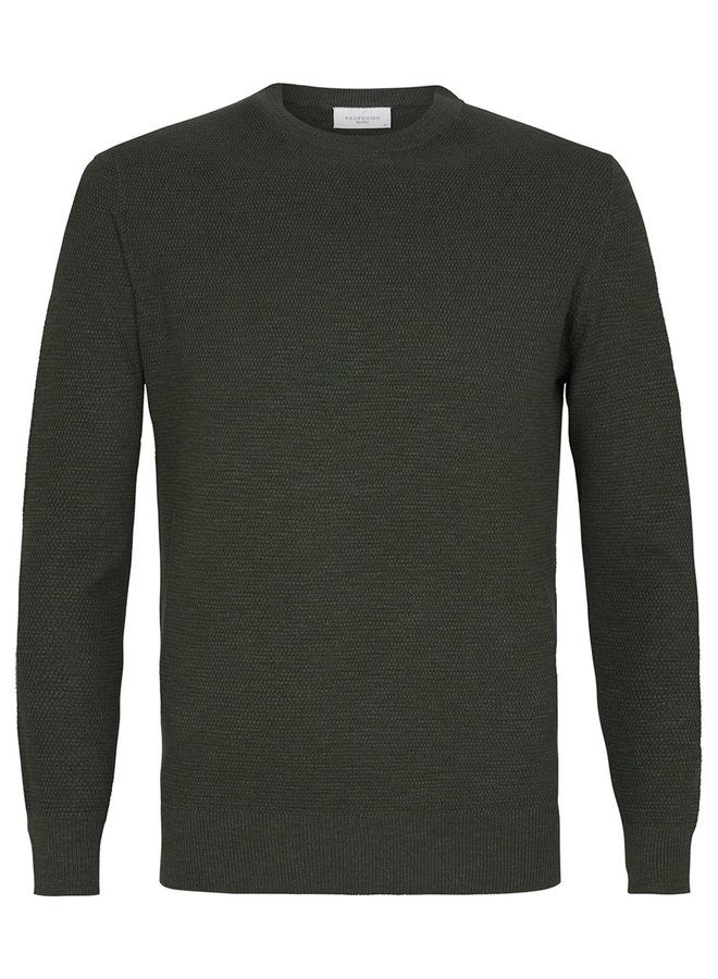 Uni Donker - Groen Structuur Garment Dye