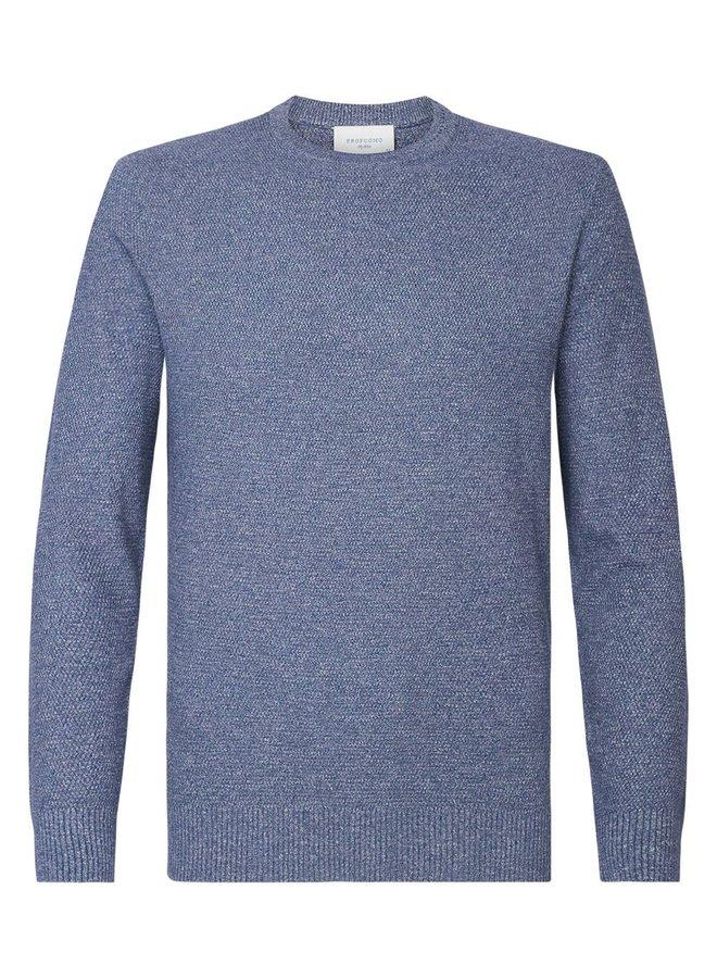 Uni Midden - Blauw Structuur Garment Dye