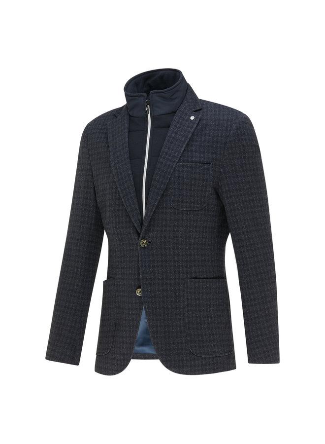 Ruit - Structuur Navy Melange Vest - Colbert Knitted