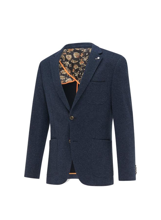 Uni Blauw Melange Structuur Knitted