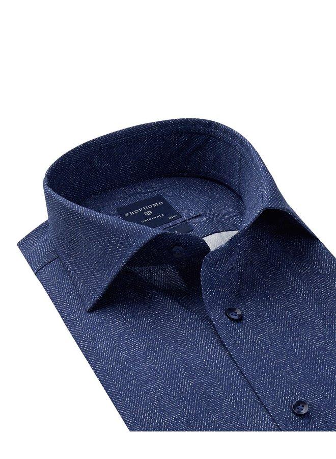 Overhemd  Donker Blauw Visgraad