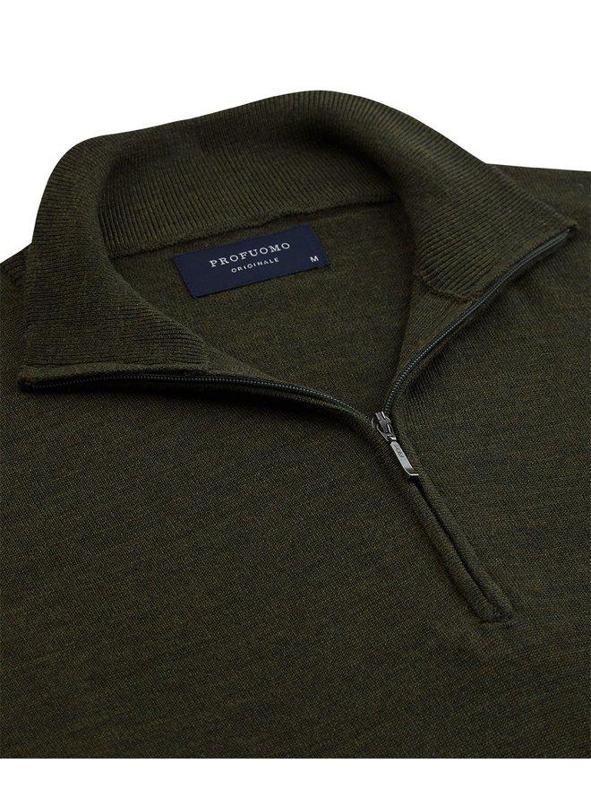 Pullover Zipsluiting - Army Groen