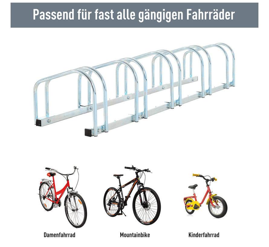 HOMCOM Fietsenrek voor 5 fietsen staal verzinkt 130 x 33 x 27cm
