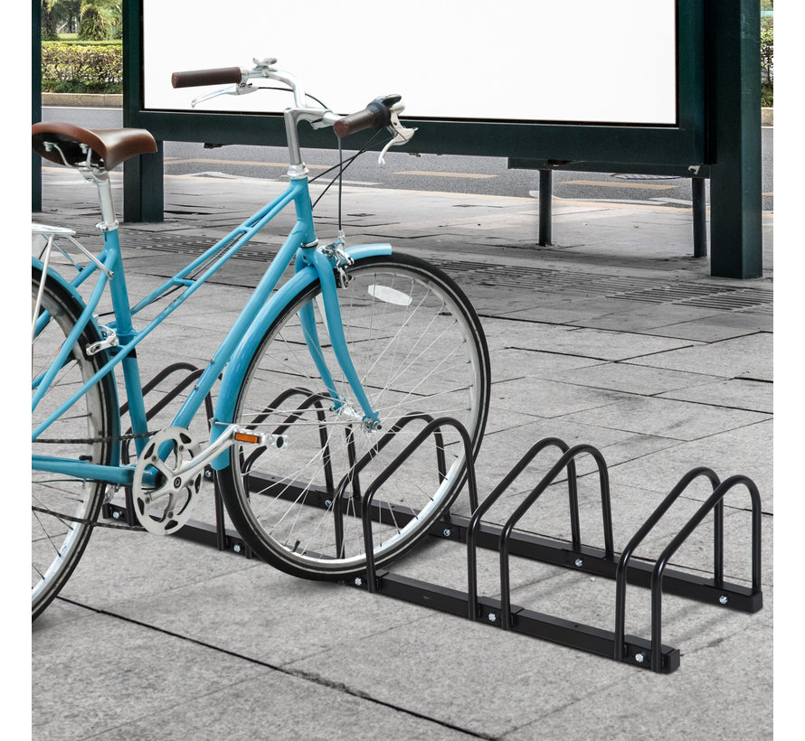 HOMCOM Fietsenrek voor 5 fietsen staal zwart 130 x 33 x 27cm