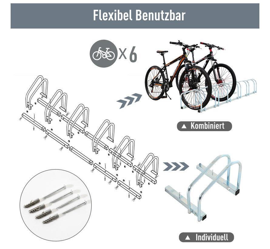 HOMCOM Fietsenrek voor 6 fietsen staal verzinkt 160 x 33 x 27cm