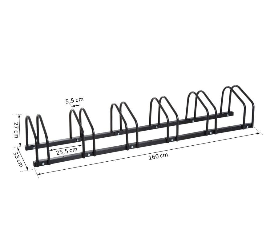 HOMCOM Fietsenrek voor 6 Fietsen - Staal Zwart - 160 x 33 x 27cm