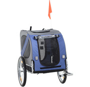 PawHut PawHut Hondentrailer fietskar blauw 130 x 73 x 94cm