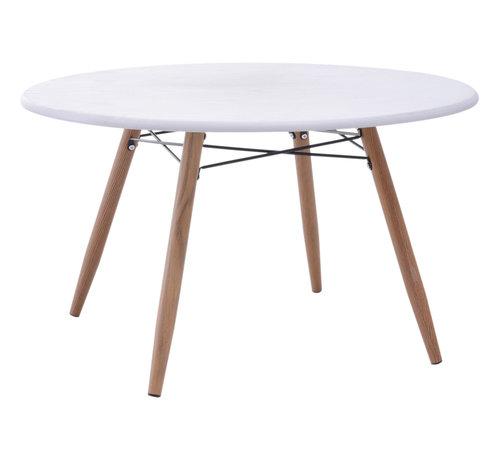 HOMCOM HOMCOM Bijzet koffietafel rond hout wit 80 x 45 cm