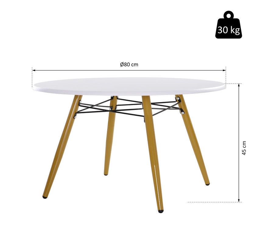 HOMCOM Bijzet koffietafel rond hout wit 80 x 45 cm