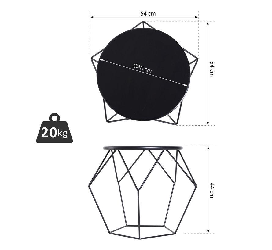HOMCOM Bijzettafel koffietafel geometrisch metaal zwart 54 x 54 x 44 cm