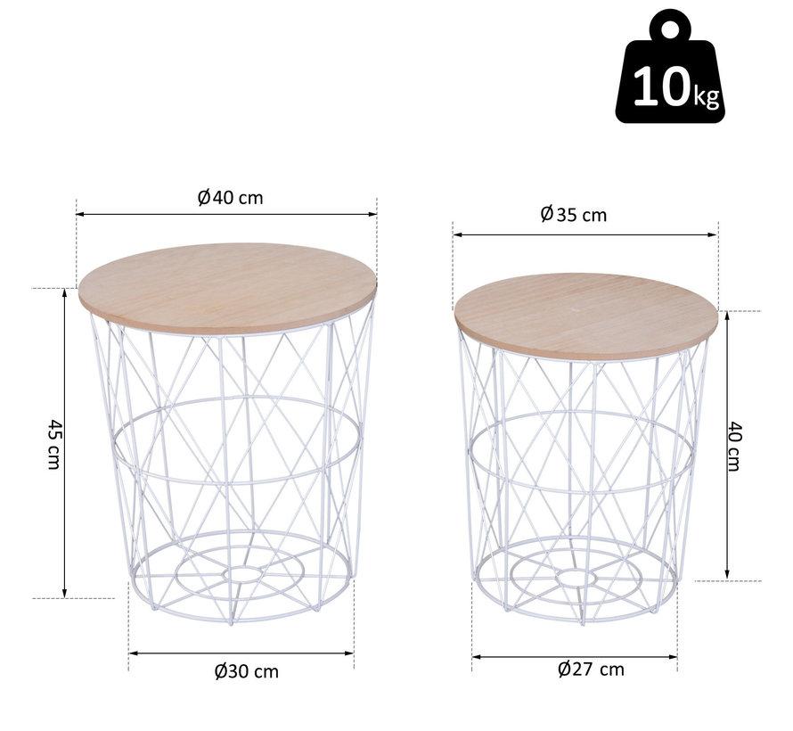 HOMCOM Bijzettafel wit metaal/hout 2 stuks 45 + 40 cm