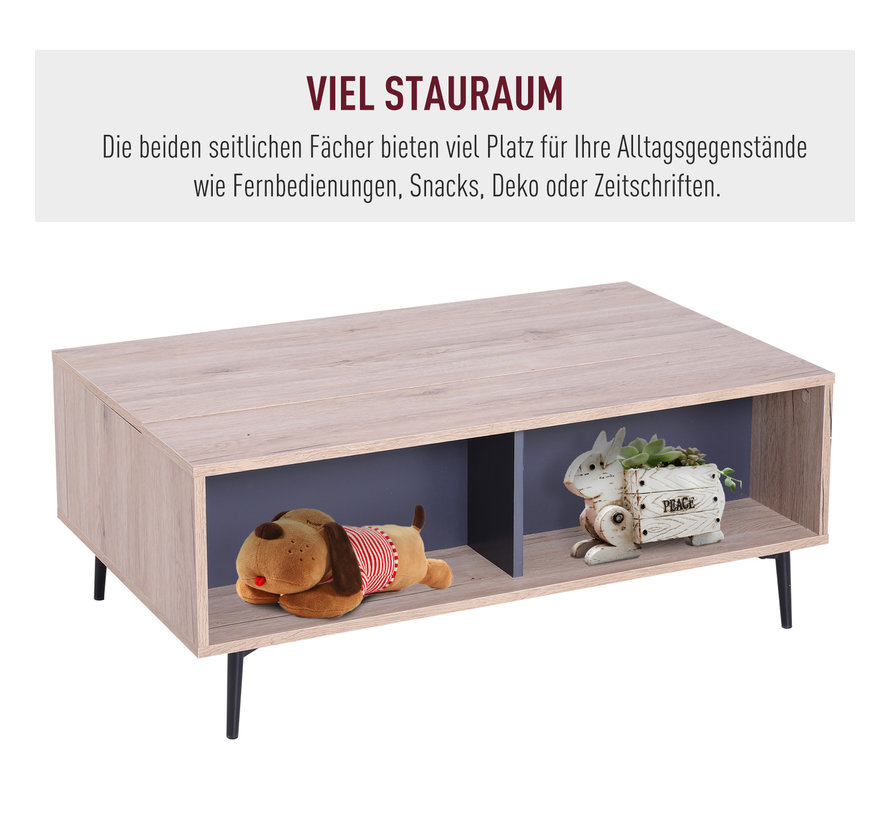 HOMCOM Bijzettafel koffietafel met uitklapbaar tafelblad hout 100 x 58 x 39,3 52,7 cm