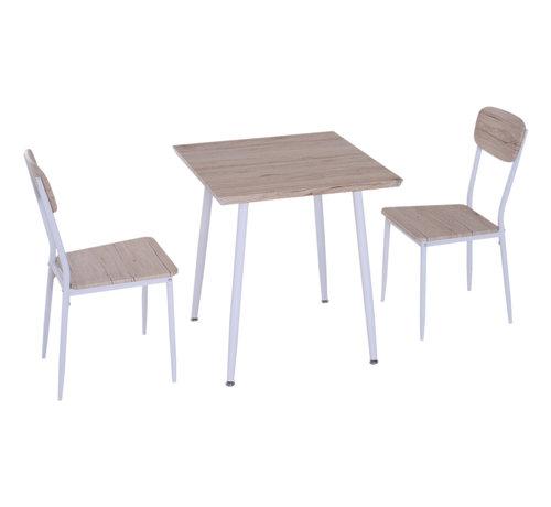 HOMCOM HOMCOM Eettafel set met 2 stoelen naturel hout/wit