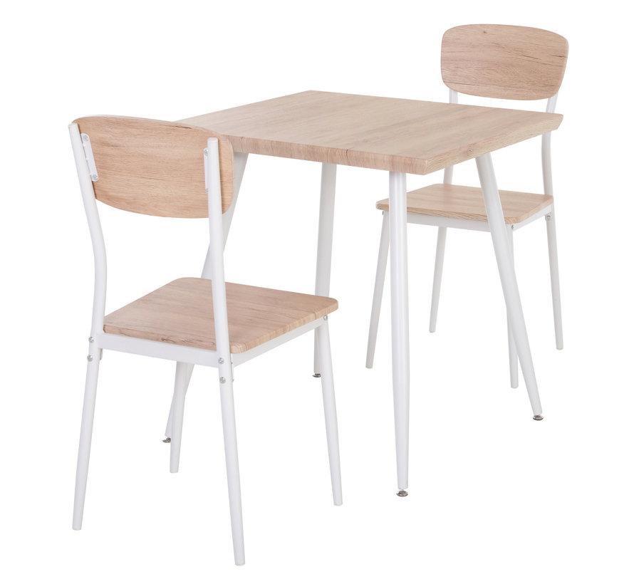 HOMCOM Eettafel set met 2 stoelen naturel hout/wit