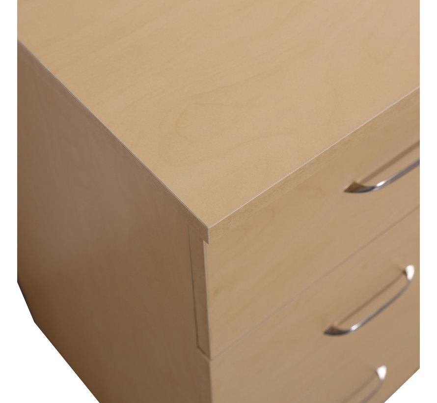 HOMCOM Bureau computertafel met 3 laden en 3 vakken naturel hout 120 x 49 x 72 cm