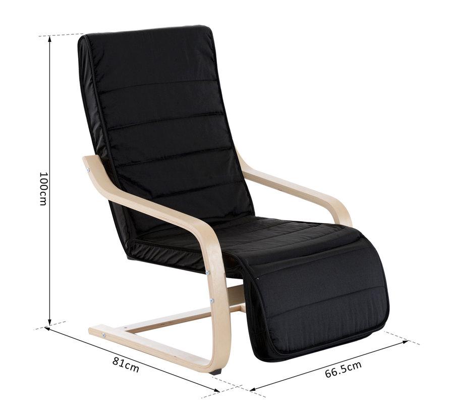 HOMCOM Relaxstoel met verstelbare beensteun zwart 66,5 x 81 x 100cm