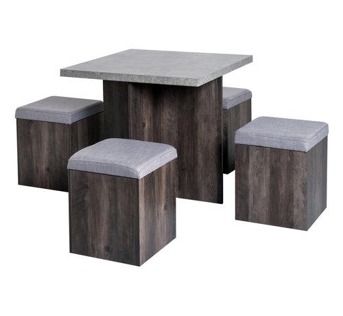 HOMCOM HOMCOM Eetkamerset met tafel en 4 hockers grijs 80 x 80cm