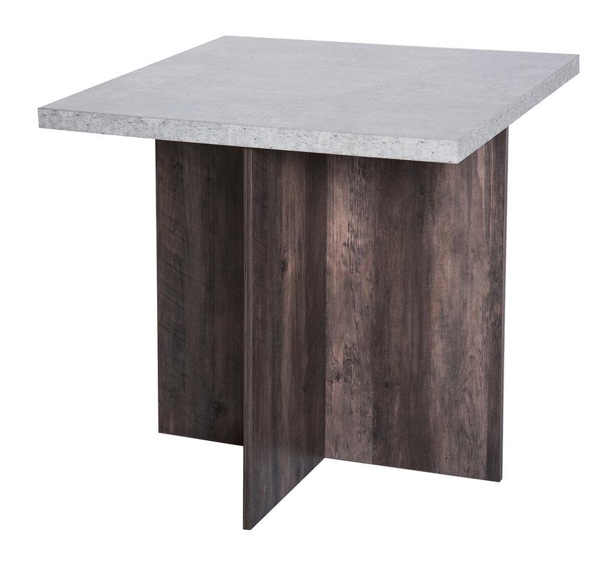 HOMCOM Eetkamerset met tafel en 4 hockers grijs 80 x 80cm