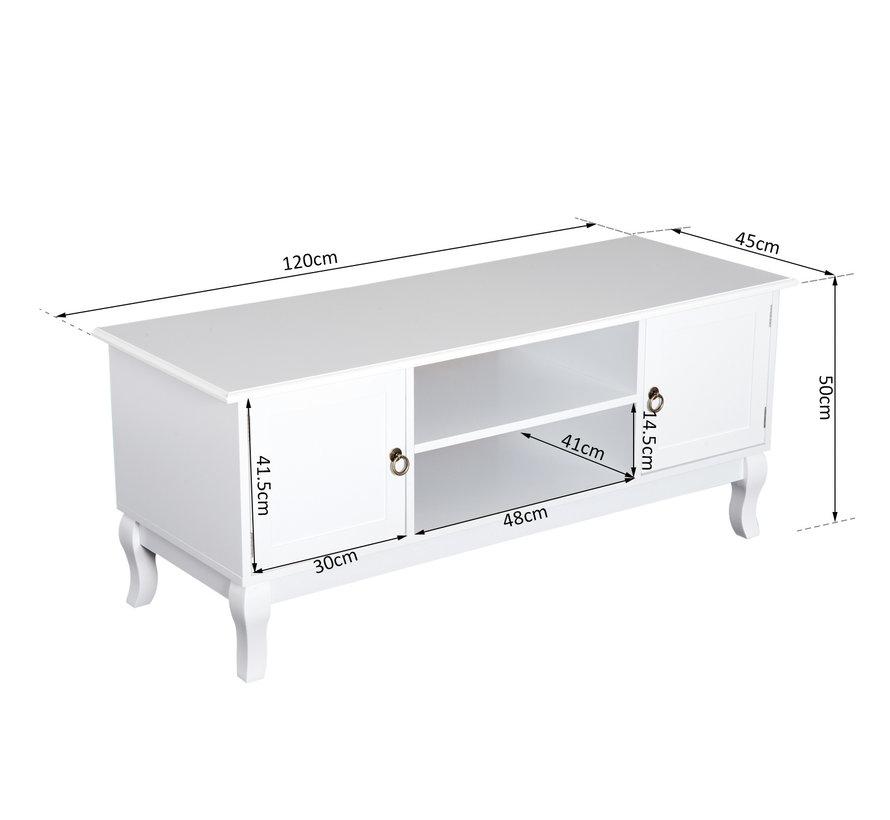 HOMCOM TV-meubel lowboard MDF wit 120 x 45 x 50cm