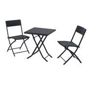 Outsunny Outsunny Tuinset 3-delig tafel en tuinstoelen polyrattan zwart