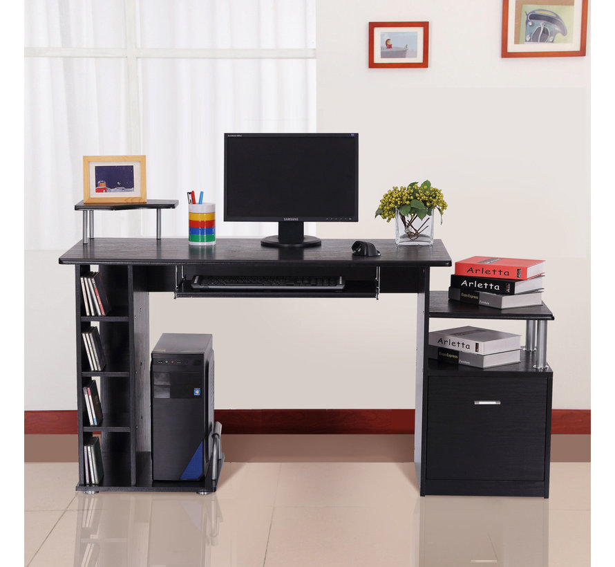 HOMCOM Computertafel bureau zwart 152 x 60 x 88cm