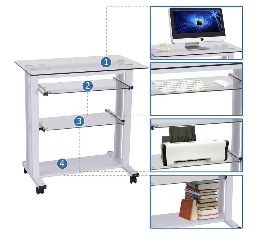 HOMCOM Computertafel bureau ijzer/hardglas wit 80 x 51 x 83cm