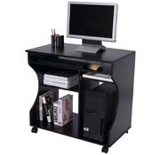 HOMCOM HOMCOM Computertafel bureau op wielen zwart 80 x 48 x 76cm