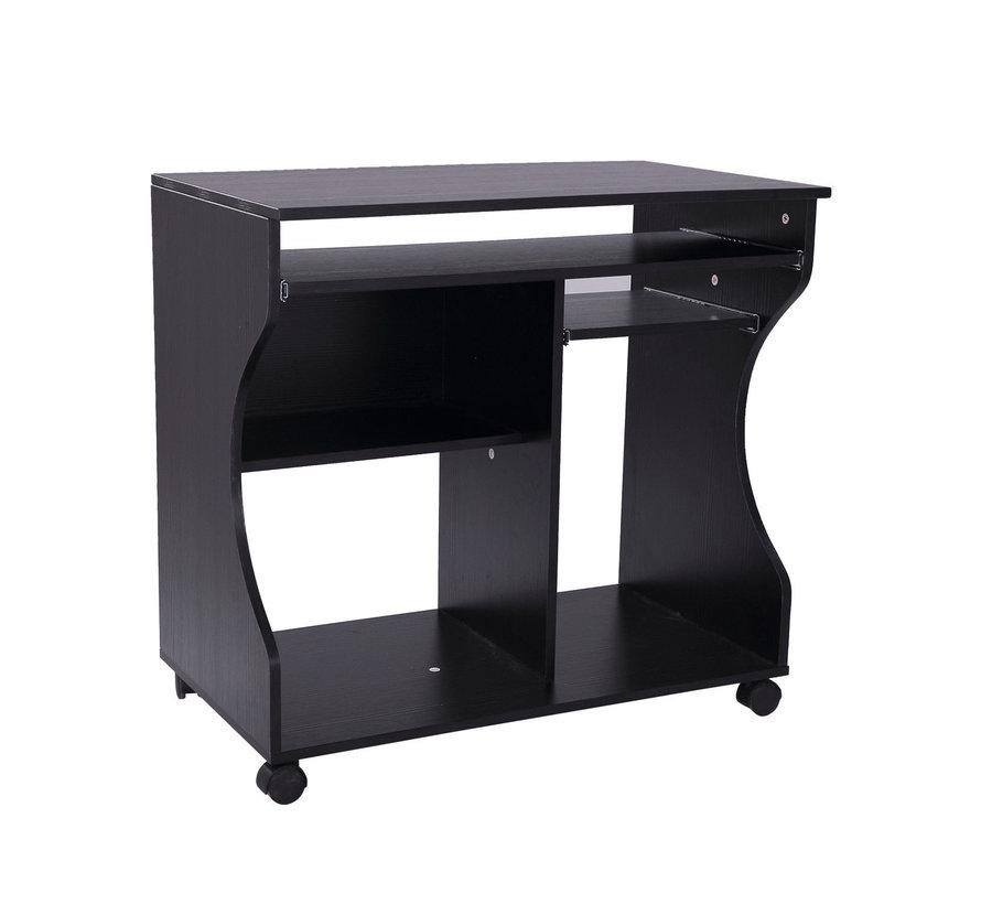 HOMCOM Computertafel bureau op wielen zwart 80 x 48 x 76cm