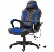 HOMCOM HOMCOM Bureaustoel ergonomisch gamingstoel met massagefunctie blauw