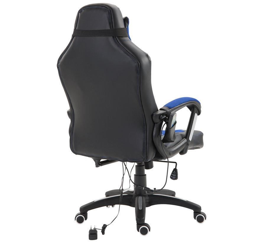 HOMCOM Bureaustoel ergonomisch gamingstoel met massagefunctie blauw