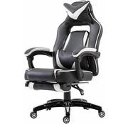 Vinsetto Vinsetto Bureaustoel sportief met voetensteun kunstleer zwart/wit