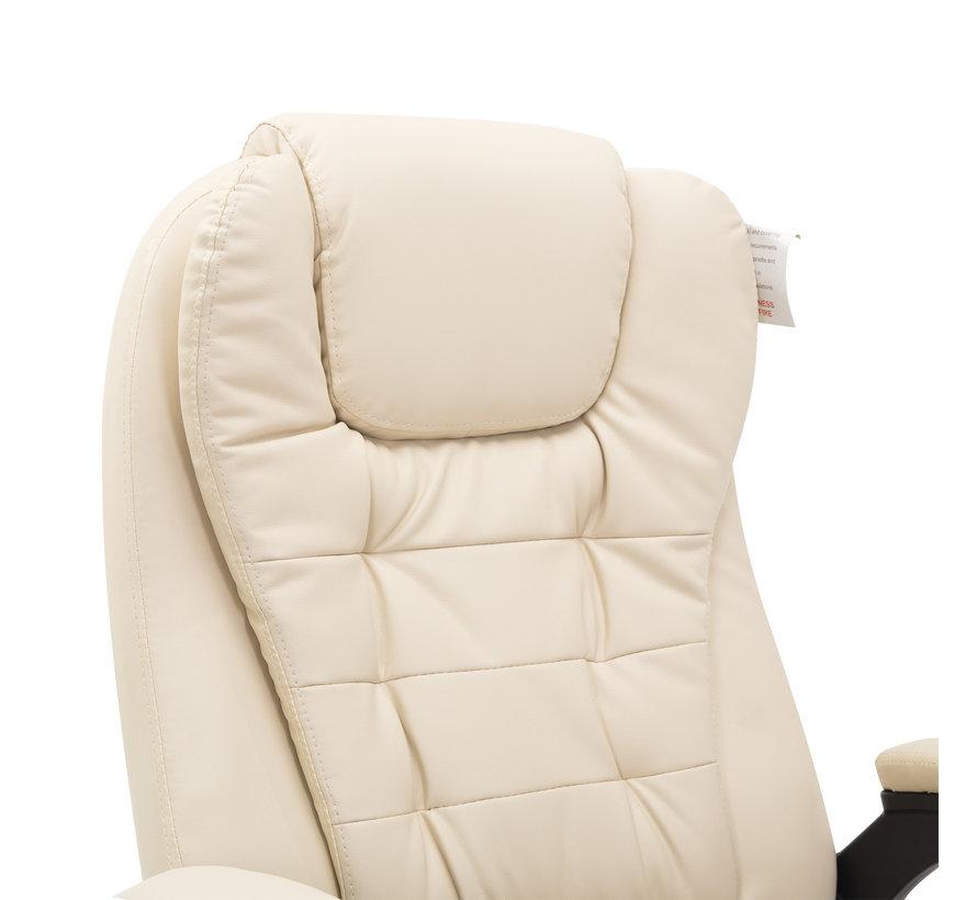 HOMCOM Bureaustoel - Kunstleer met Massage- en Warmtefunctie - Crème wit