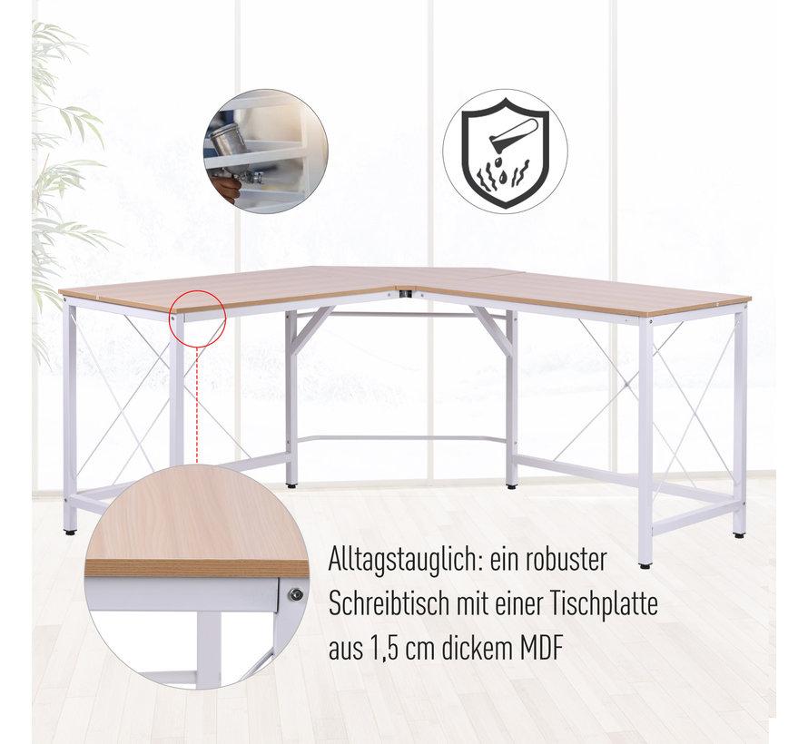 HOMCOM Bureau L-vorm naturel hout/wit 150 x 150 x 76 cm | Modern Industrieel look