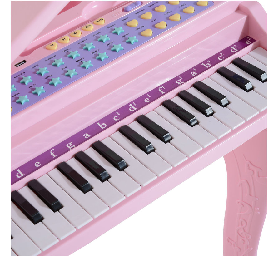 HOMCOM Pianomuziek voor kinderen MP3 USB incl. Ontlasting 37 roze toetsen