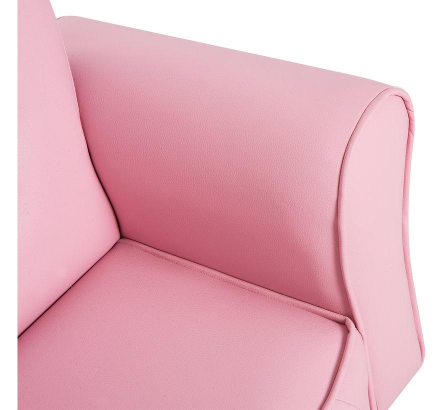 HOMCOM Kinderbank Princess Minisofa hartvormig roze