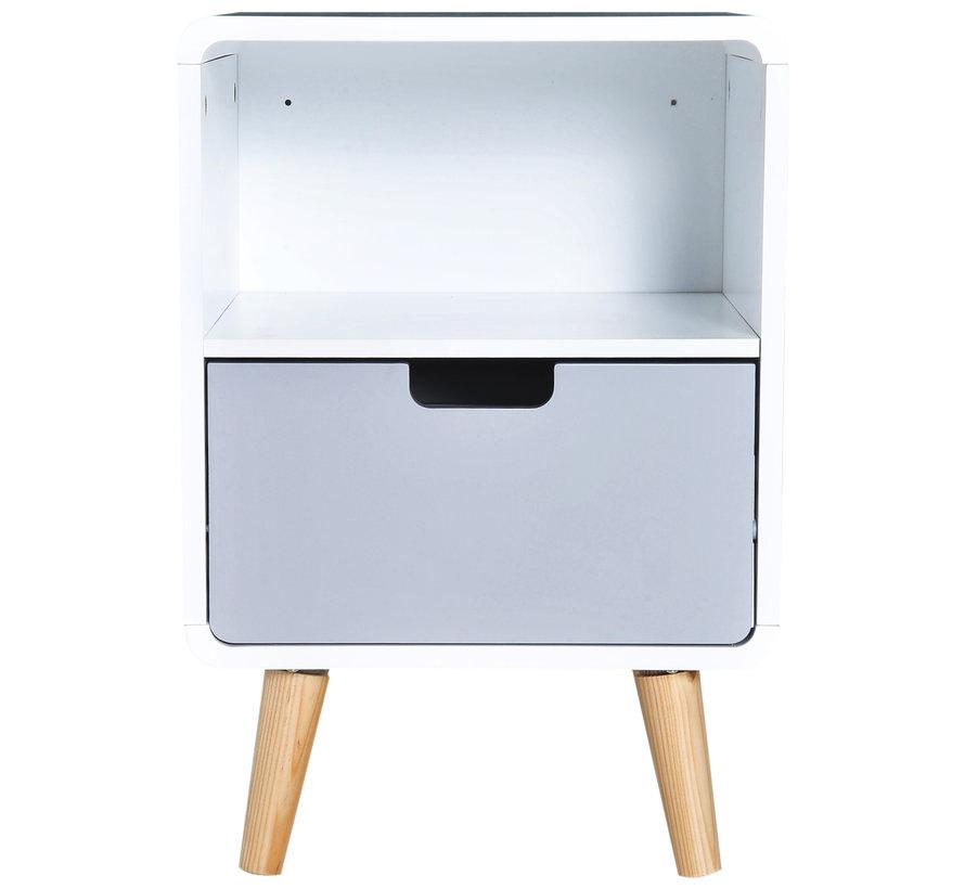 HOMCOM Nachtkastje Nordic hoogglans wit 40 x 38 x 58 cm