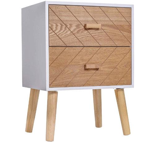 HOMCOM HOMCOM Nachtkastje Nordic hout/wit 40 x 30 x 55,5 cm