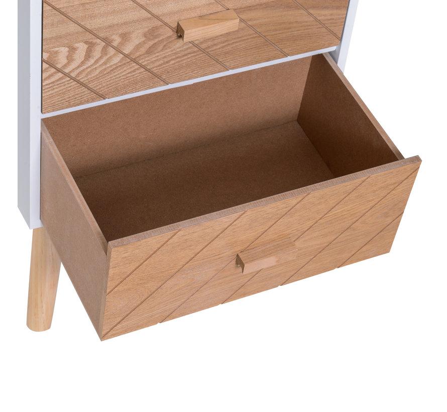 HOMCOM Nachtkastje Nordic hout/wit 40 x 30 x 55,5 cm