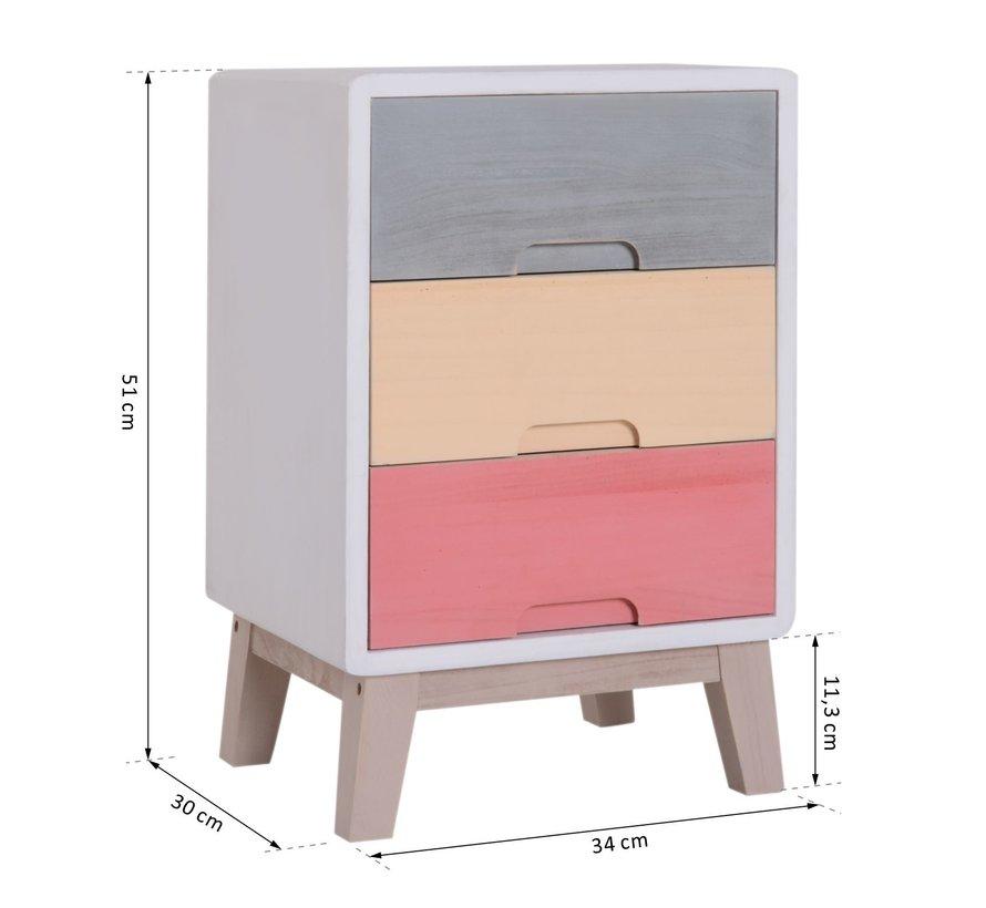 HOMCOM Nachtkastje kleurrijk hout 3 laden 30 x 34 x 51 cm