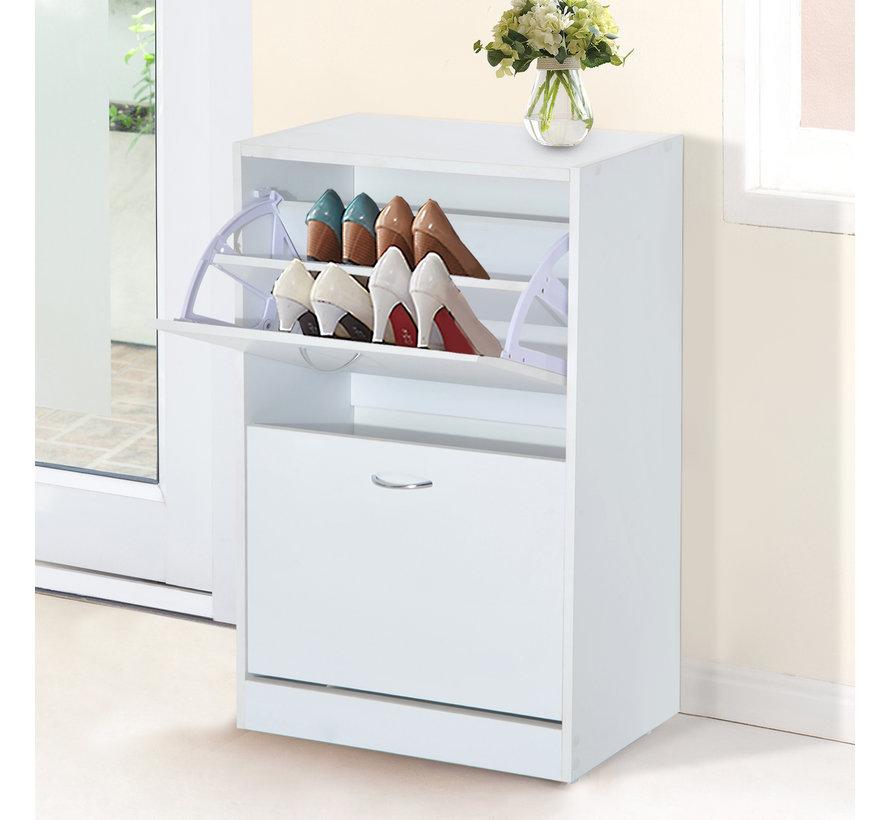 HOMCOM Schoenenkast voor 12 paar schoenen wit 60 x 24 x 80 cm