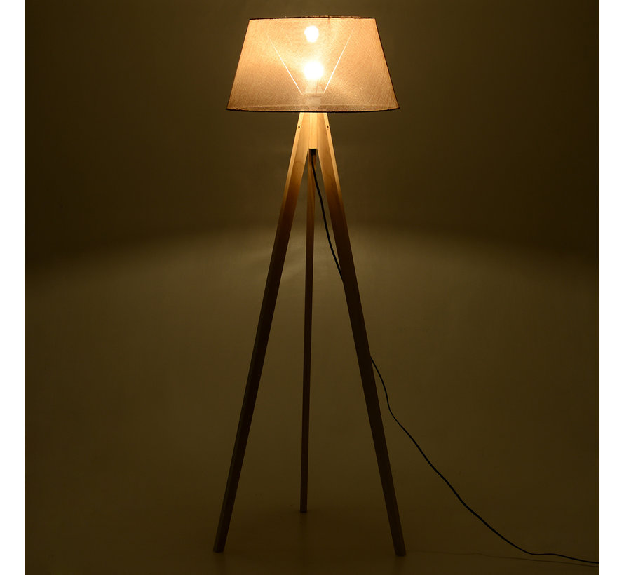 HOMCOM Vloerlamp tripod Scandinavisch hout beige 52 x 52 x 146 cm