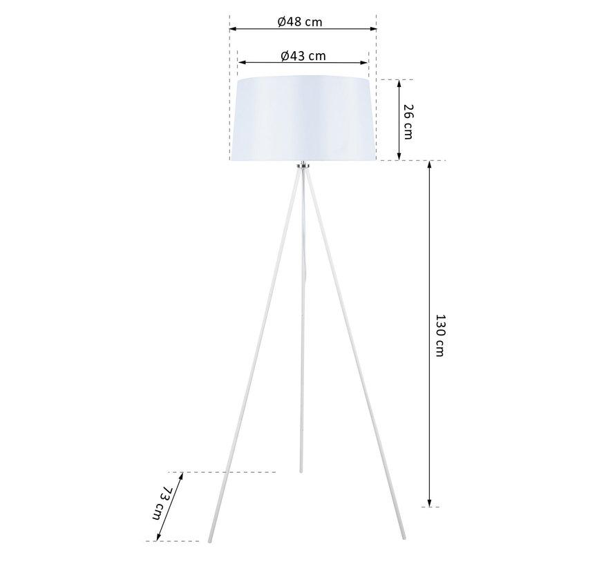 HOMCOM Vloerlamp tripod metaal wit  48 x 156 cm