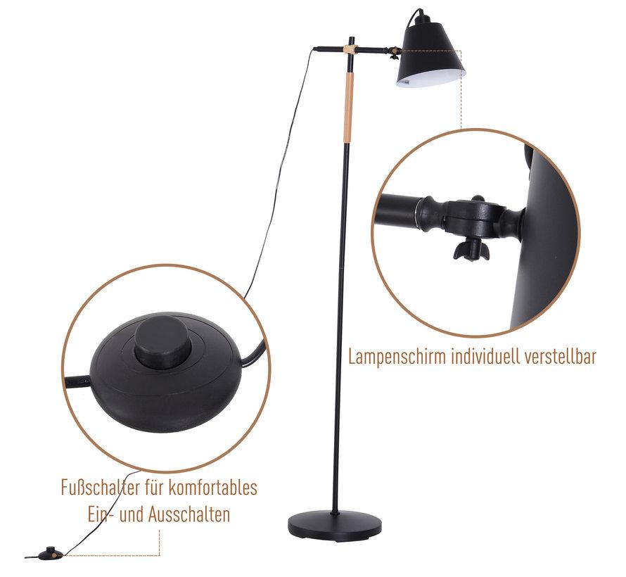 HOMCOM Vloerlamp verstelbaar hout/metaal zwart 54 x 30 x 155 cm