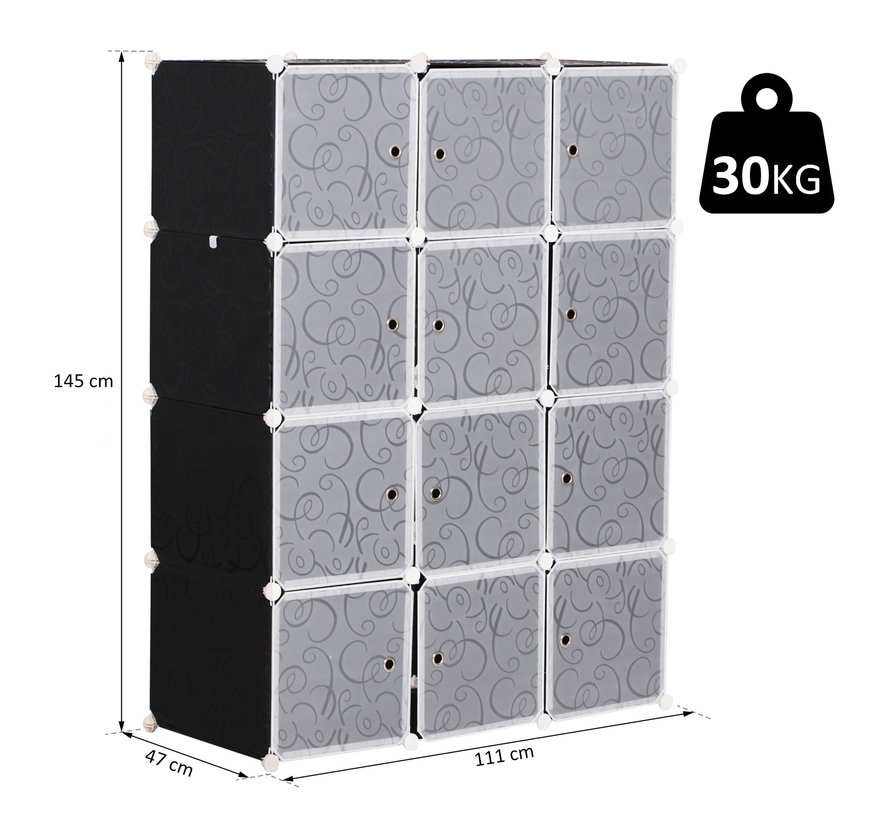 HOMCOM Kledingkast met garderobestang en 2+6 vakken zwart/wit 111x47x145 cm