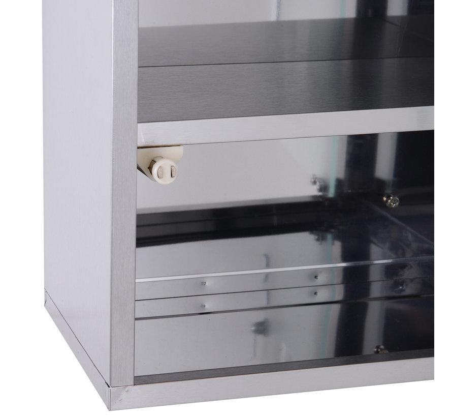 HOMCOM Medicijnkast met slot en 3 vakken RVS 30 x 18 x 50 cm